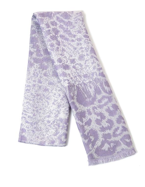 Lavender Leopard Lurex Scarf, Lavender, hi-res
