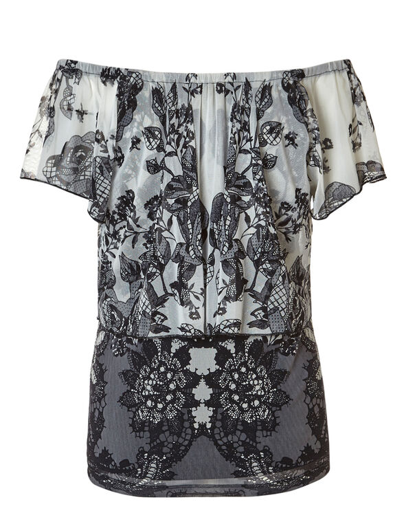 Black Floral Layered Ombre Top, Black/Grey/Ivory, hi-res