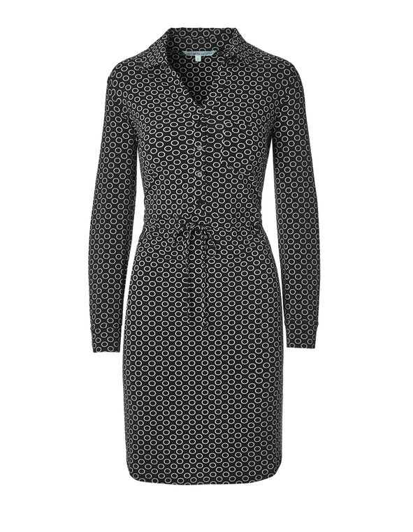 Circle Print Shirt Dress, Black/White, hi-res