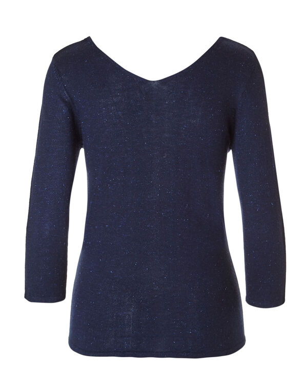 Navy Double V-Neck Sweater, Navy, hi-res