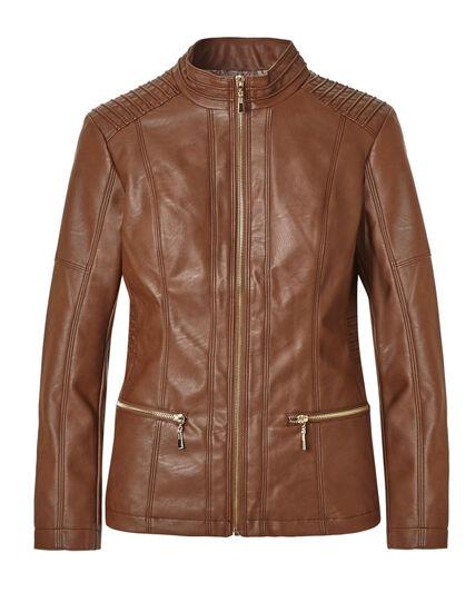 Brown Mock Faux Leather Jacket, Medium Brown, hi-res