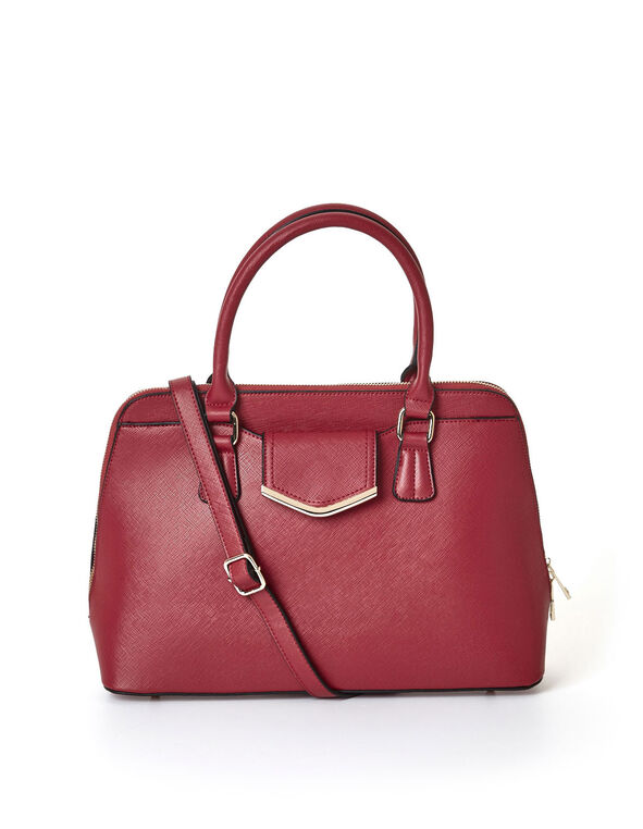 Red Saffiano Dome Handbag, Red, hi-res