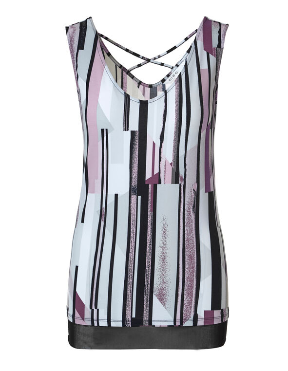 Striped Mesh Hem Top, Black/Grey/White, hi-res