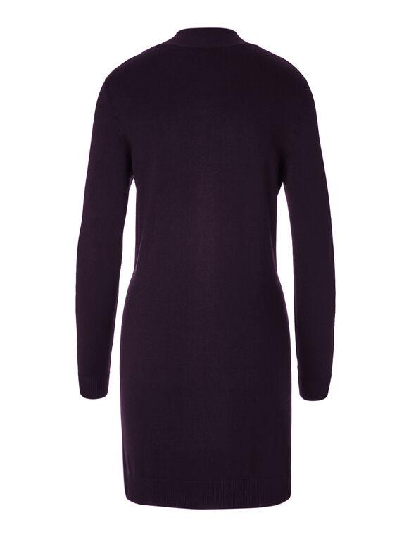 Purple Draped Open Cardigan, Purple, hi-res