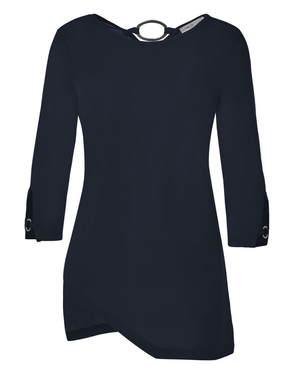 Navy Ring Detail Tunic, Navy, hi-res