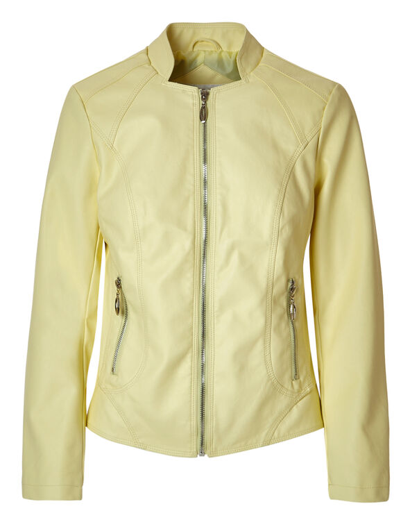 Yellow Scuba Faux Leather Jacket, Yellow, hi-res