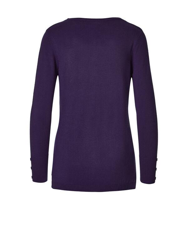 Deep Plum V-Neck Sweater, Deep Plum, hi-res