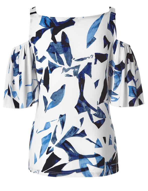 White Patterned Cold Shoulder Top, White/Blue, hi-res