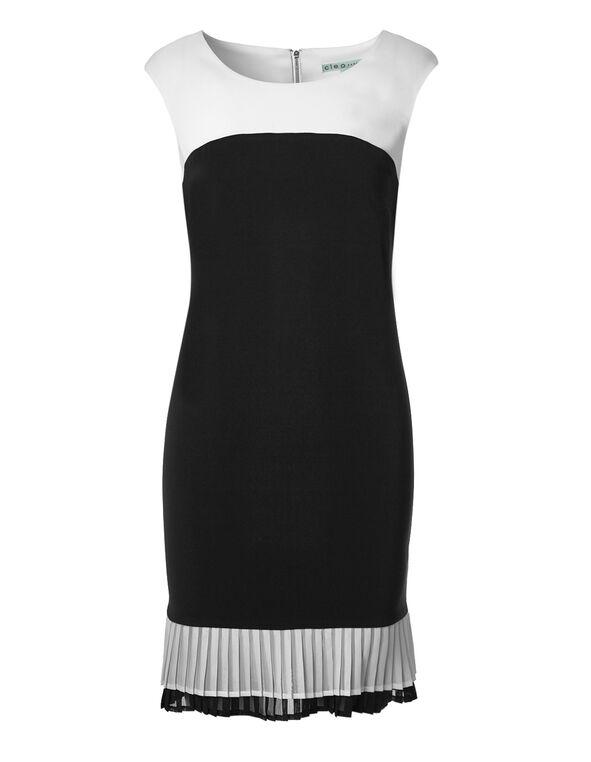 Pleated Chiffon Trim Dress, White/Black, hi-res