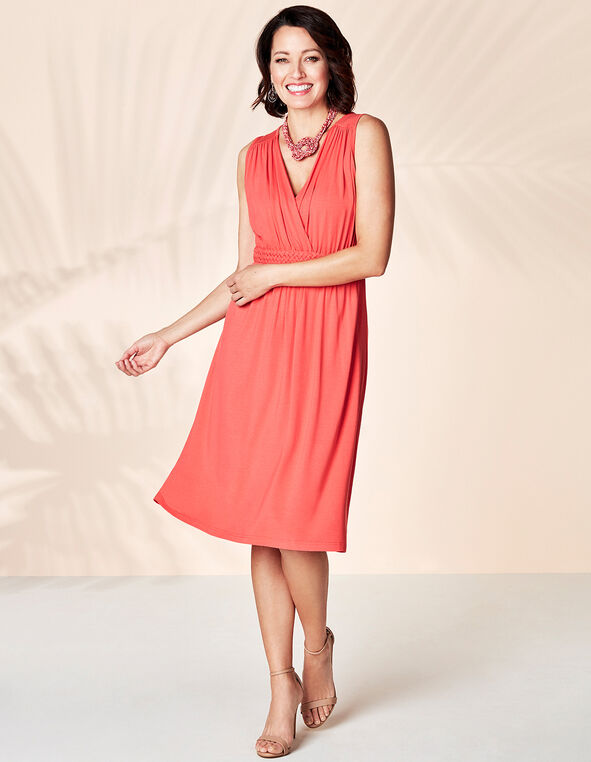Coral Summer Dress, Coral, hi-res
