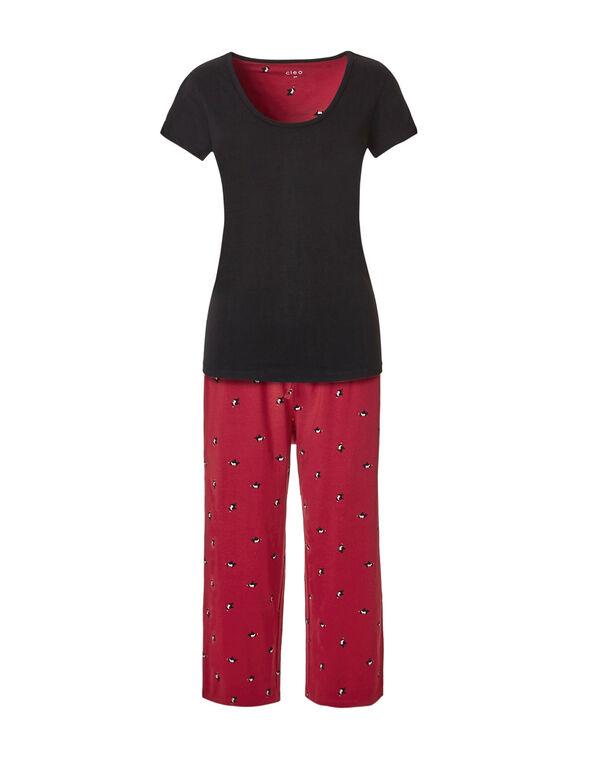 Scottie Dog Capri Pajama Set, Red, hi-res
