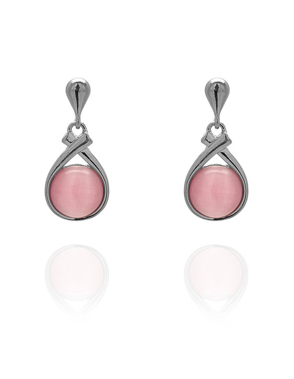 Pink Cat Eye Earring, Pink, hi-res