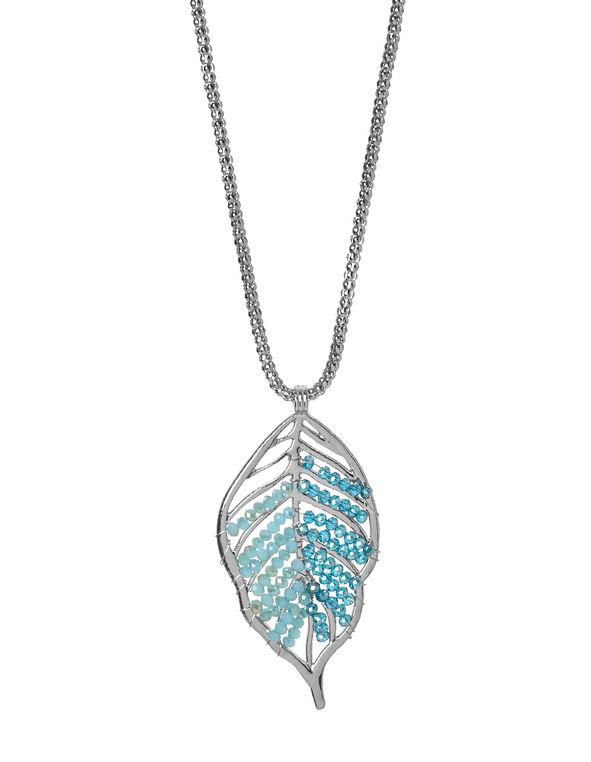 Blue Leaf Pendent Necklace, Blue, hi-res