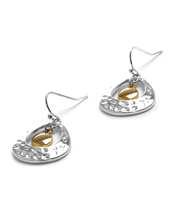 Silver Hammered Earring, Silver/Gold, hi-res