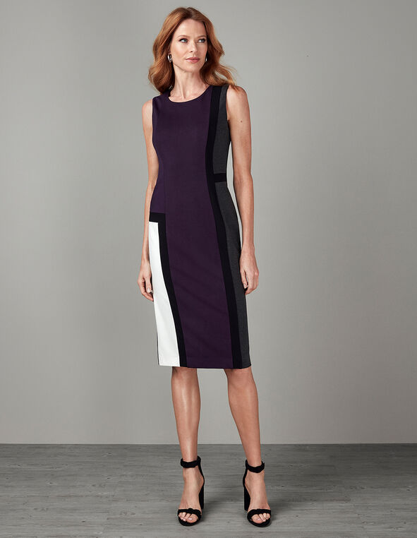 Purple Colour Blocked Dress, Purple, hi-res