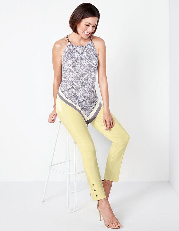 Yellow Printed Halter Top, Yellow/Grey Print, hi-res
