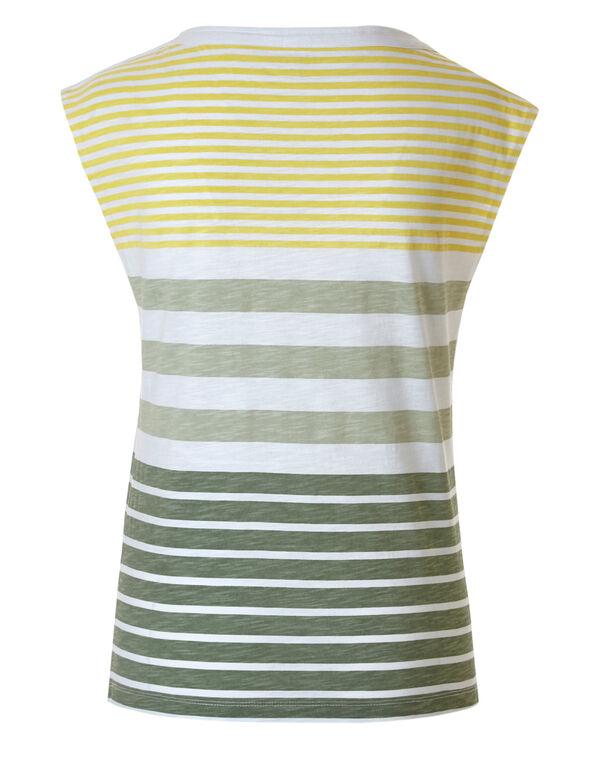 Green Striped Cotton Slub Tee, Green/Yellow, hi-res