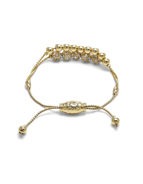 Gold Double Row Adjustable Bracelet, Gold, hi-res