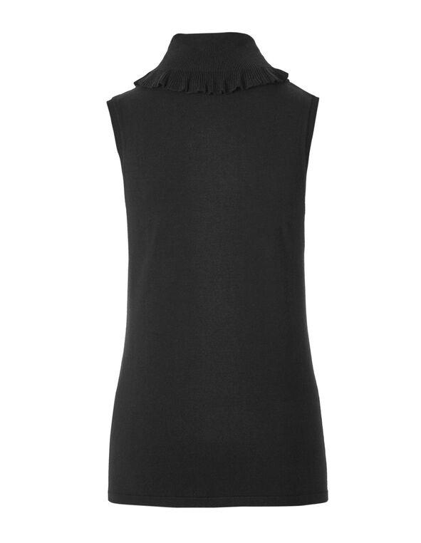Black Ruffled Neck Sweater, Black, hi-res