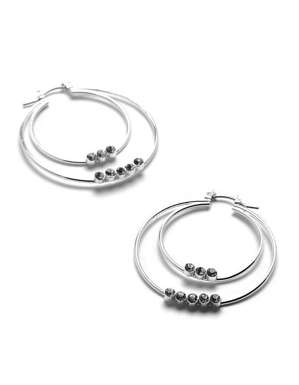Silver Tiered Hoop Earring, Silver, hi-res