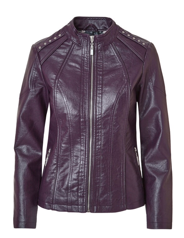 Plum Studded Faux Leather Jacket, Deep Plum, hi-res