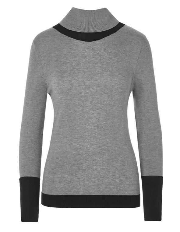 Grey Stripe Turtleneck Sweater, Grey, hi-res