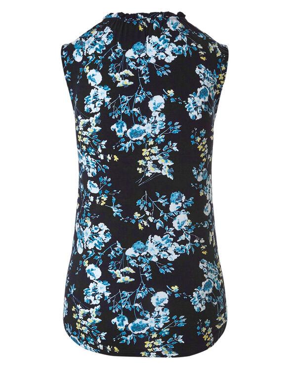 Blue Floral Tie Neck Top, Blue Floral, hi-res