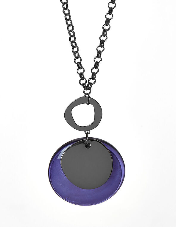 Purple Pendant Statement Necklace, Purple, hi-res