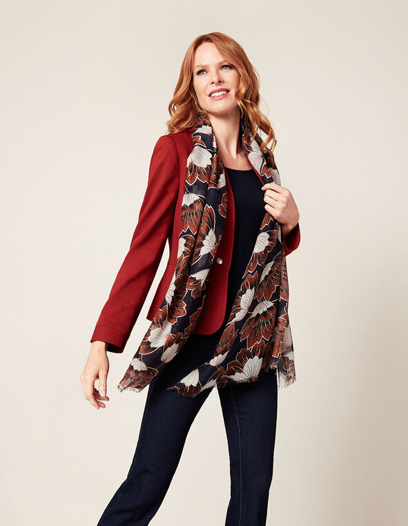 Chili Floral Oblong Scarf, Chili/Navy/White, hi-res