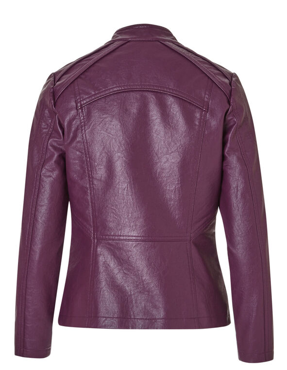 Raspberry Studded Faux Leather Jacket, Raspberry, hi-res
