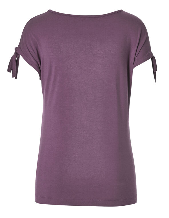 Orchid Tie Sleeve Tee, Orchid, hi-res
