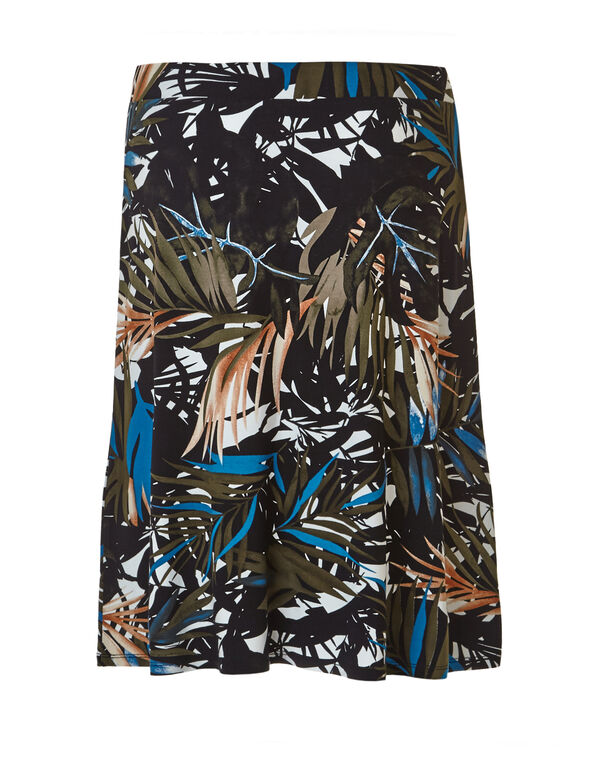 Tropic Print Flippy Skirt, Black/Olive/Turquoise, hi-res