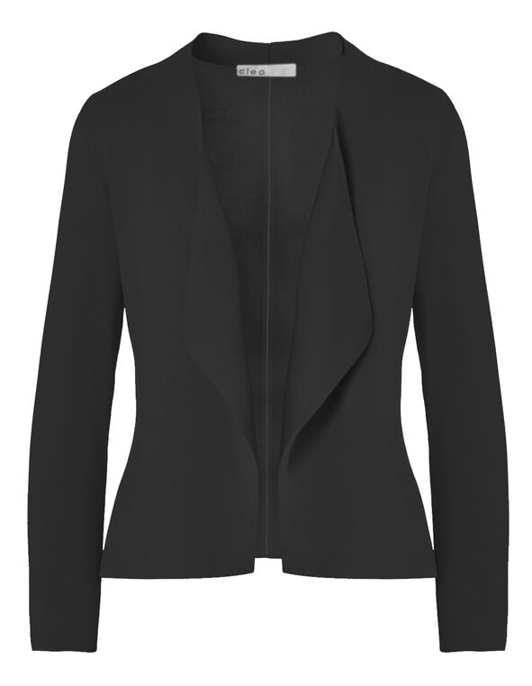 Black Crepe Open Mid Cardigan, Black, hi-res