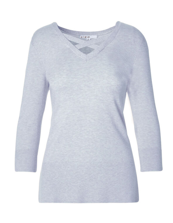 Blue Cross Cross Neckline Sweater, Soft Blue, hi-res