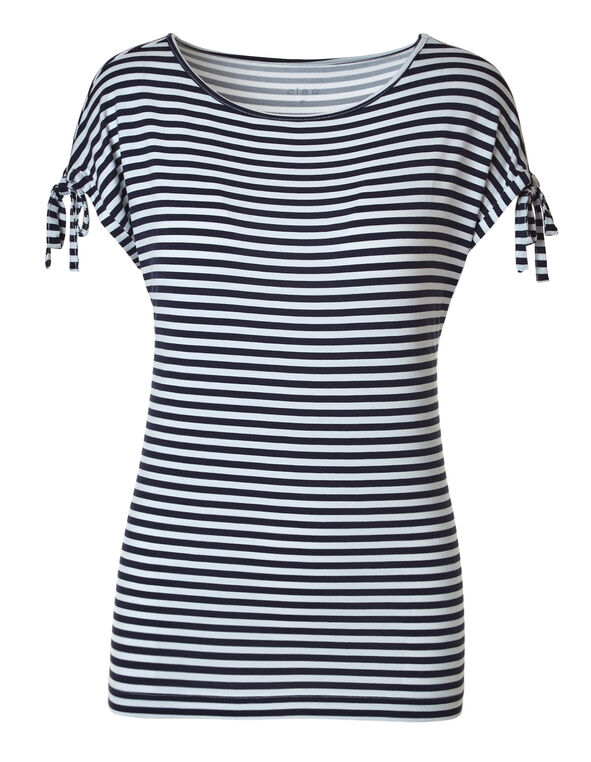 Navy Striped Tie Sleeve Tee, Navy/White, hi-res