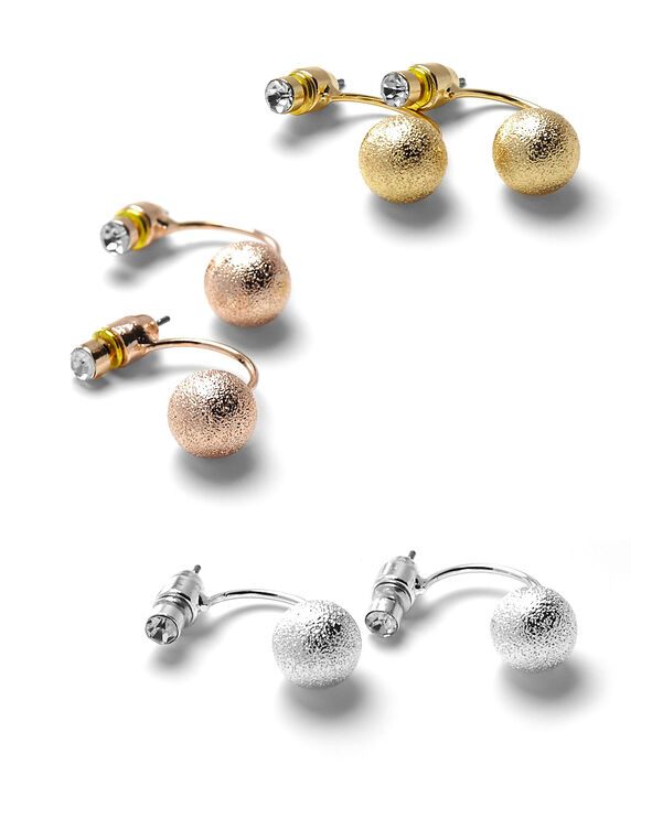 Diamond Dust Ball Earring Set, Silver/Gold/Rose Gold, hi-res