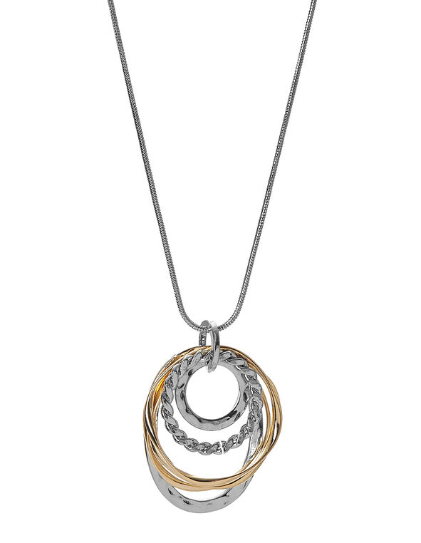 Silver Oval Layered Necklace, Silver/Gold, hi-res
