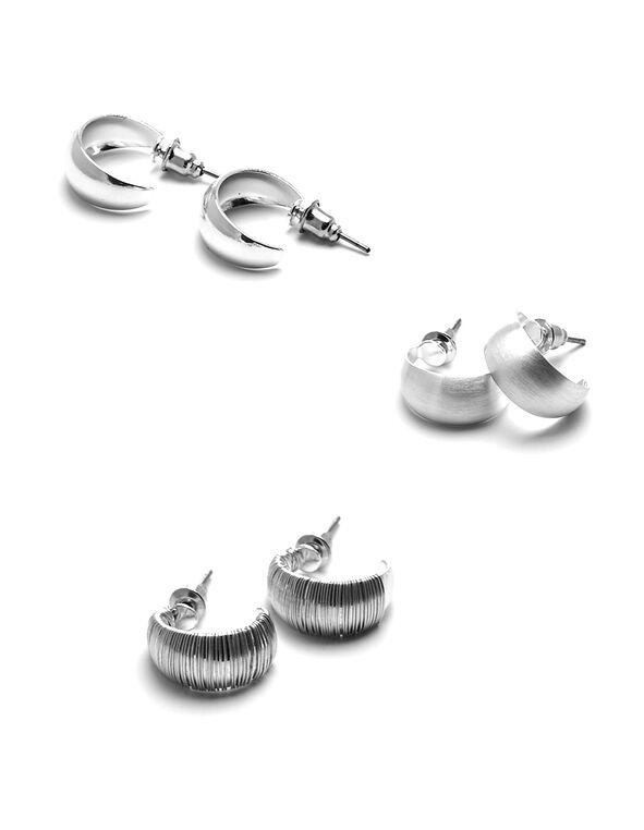 Silver Hoop Earring Set, Silver, hi-res