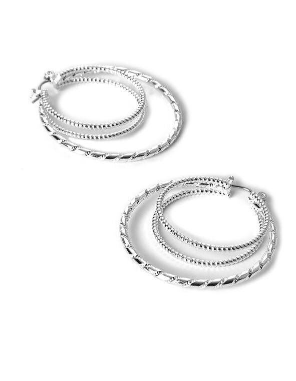 Silver Double Hoop Earring, Silver, hi-res