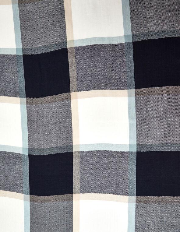 Blue Classic Plaid Oblong Scarf, Blue/Ivory, hi-res