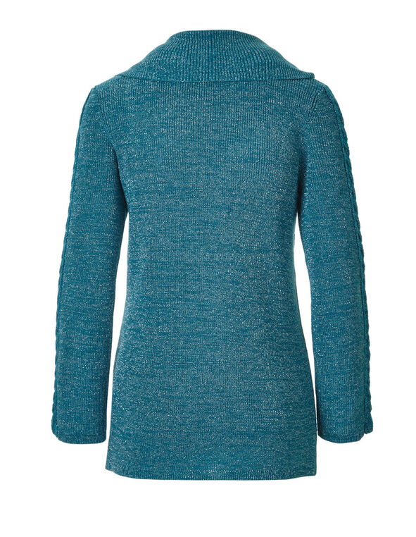 Peacock Marilyn Neck Cable Sweater, Peacock, hi-res