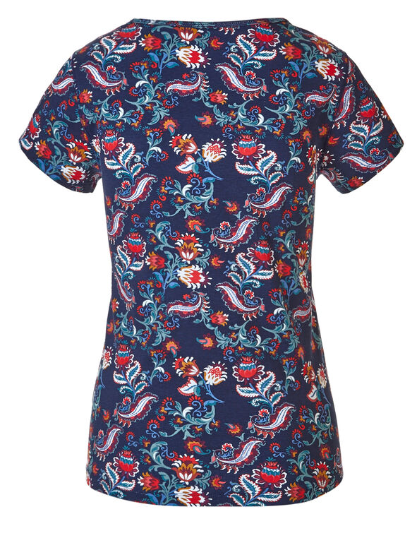 Navy Floral Henley Tee, Navy Floral, hi-res