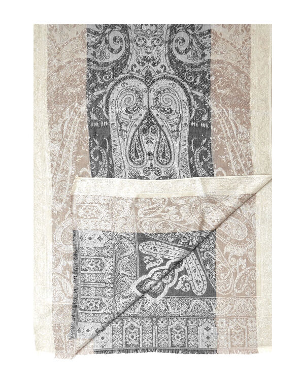Neutral Paisley Lurex Scarf, Neutral, hi-res