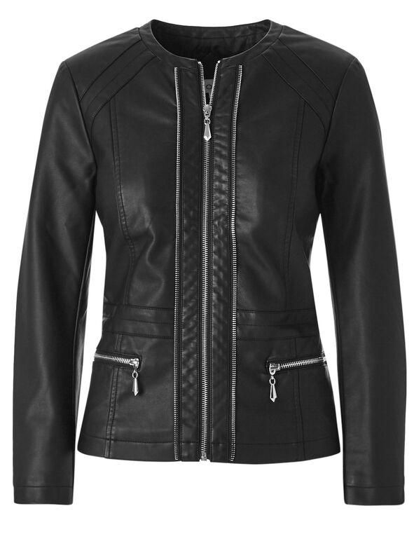 Black Scuba Faux Leather Jacket, Black, hi-res
