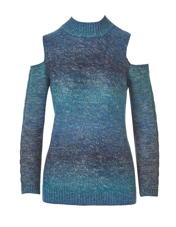 Lagoon Cold Shoulder Sweater, Lagoon, hi-res