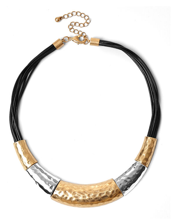 Tri-Metal Corded Statement Necklace, Gold/Silver, hi-res