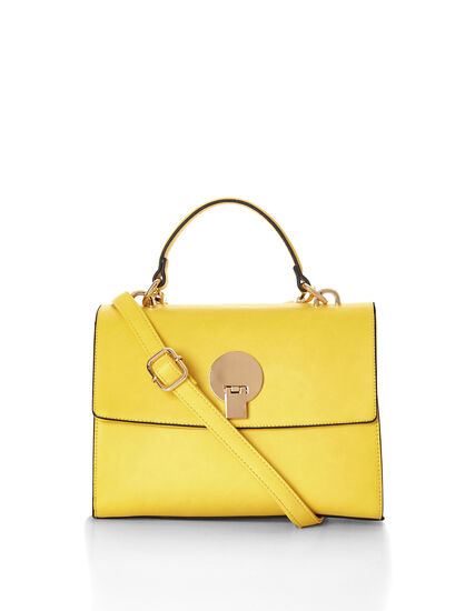 Yellow Top Handle Handbag, Yellow, hi-res