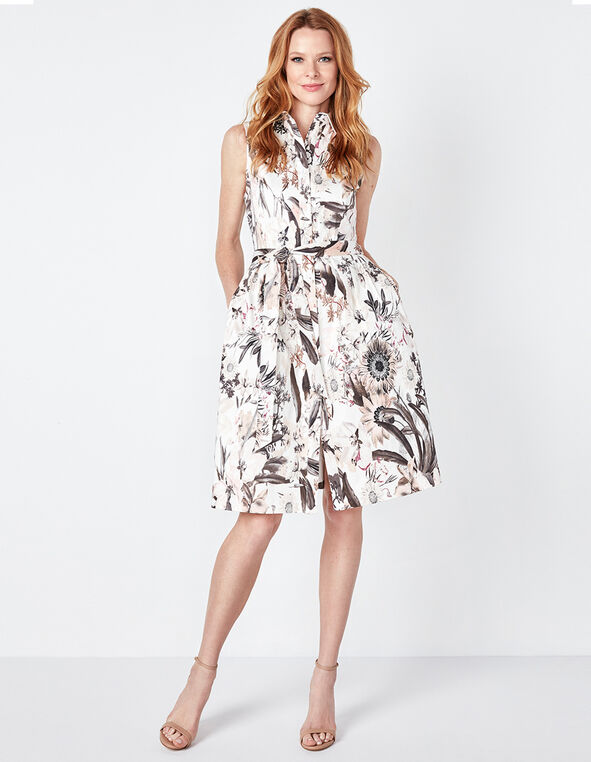 Floral Sateen Dress With Pockets, Floral, hi-res