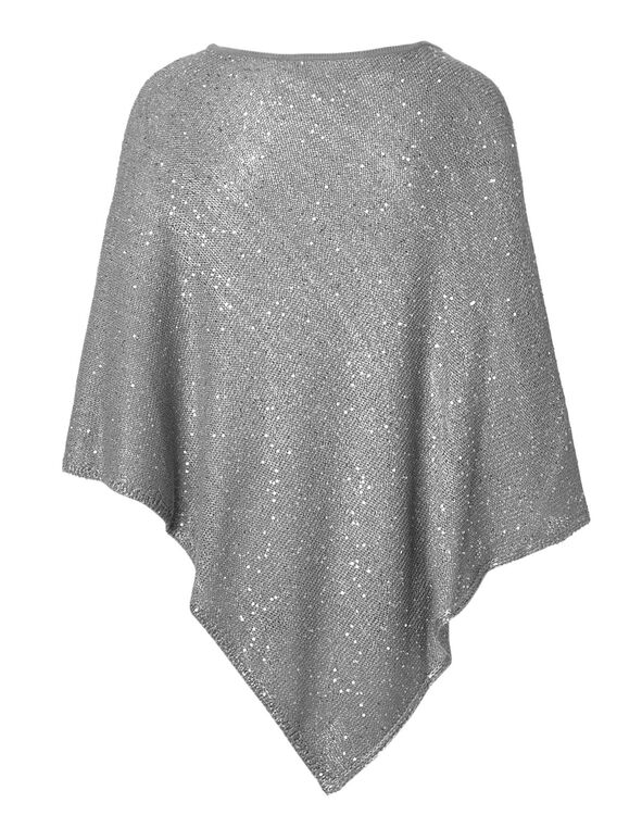 Grey Sequin Poncho, Light Grey Mix, hi-res