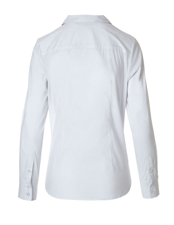 White Structured Blouse, White, hi-res